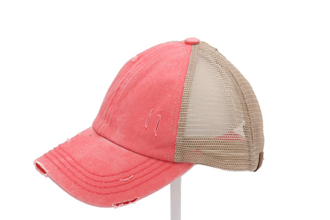 Washed Denim Criss Cross Ponytail Cap - Coral