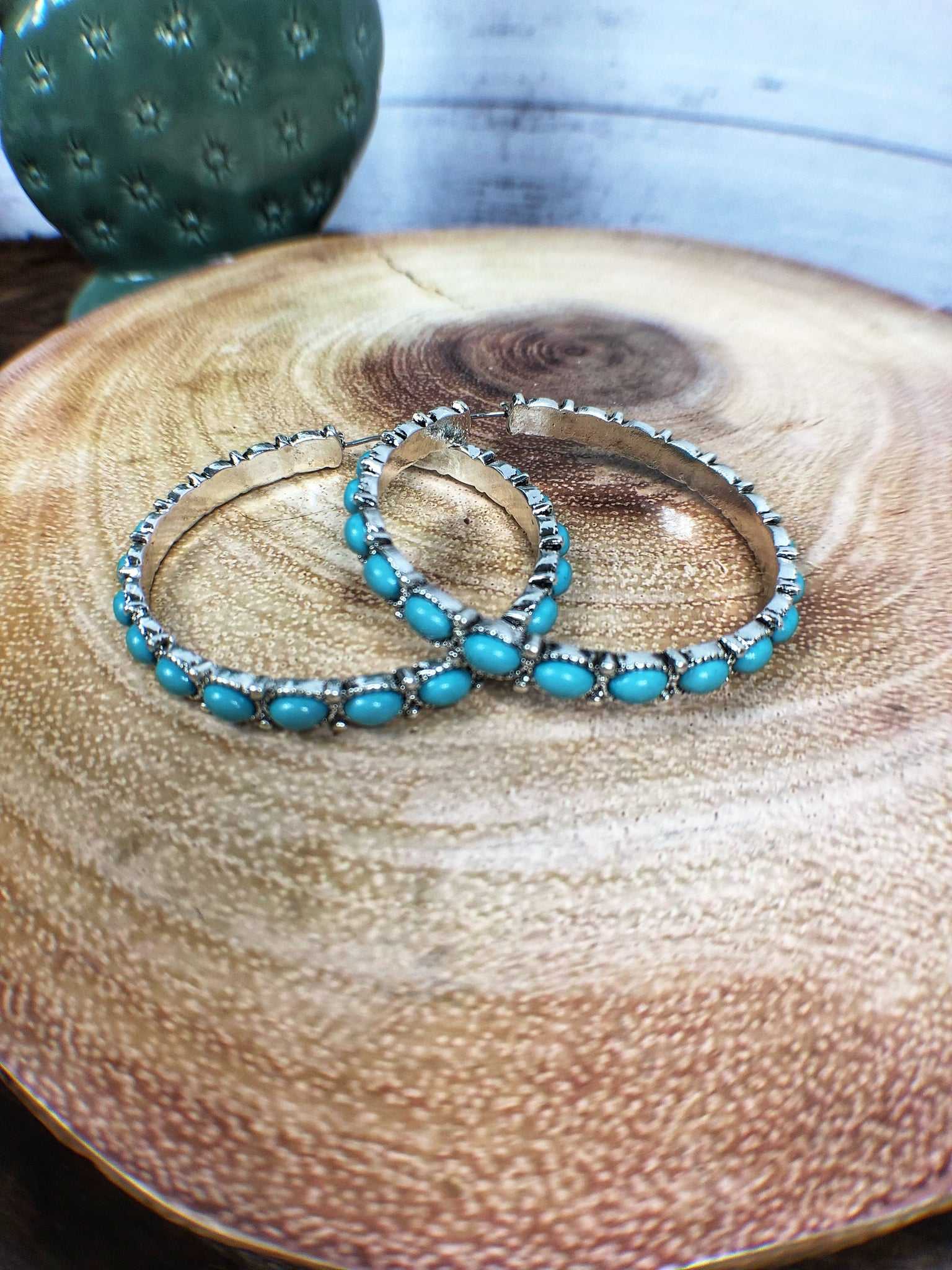 Turquoise Full Hoop Earrings