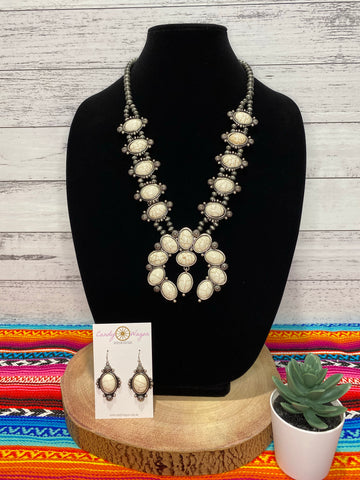 White Buffalo Squash Blossom Necklace
