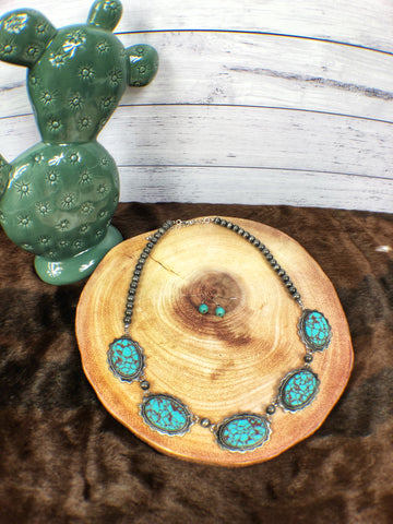Turquoise Concho Necklace Set