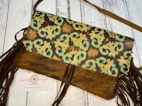 Hair on Hide Turquoise Floral Leather Clutch