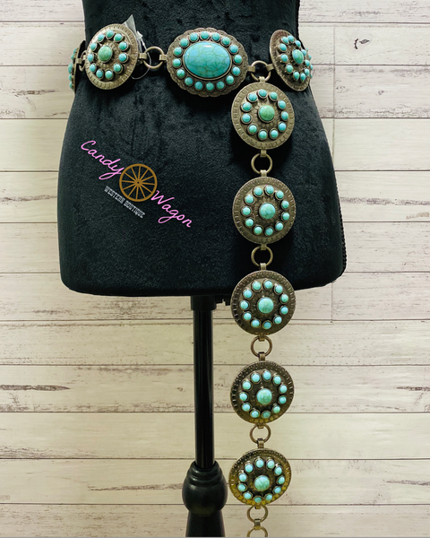 Turquoise and Silver Concho Belt