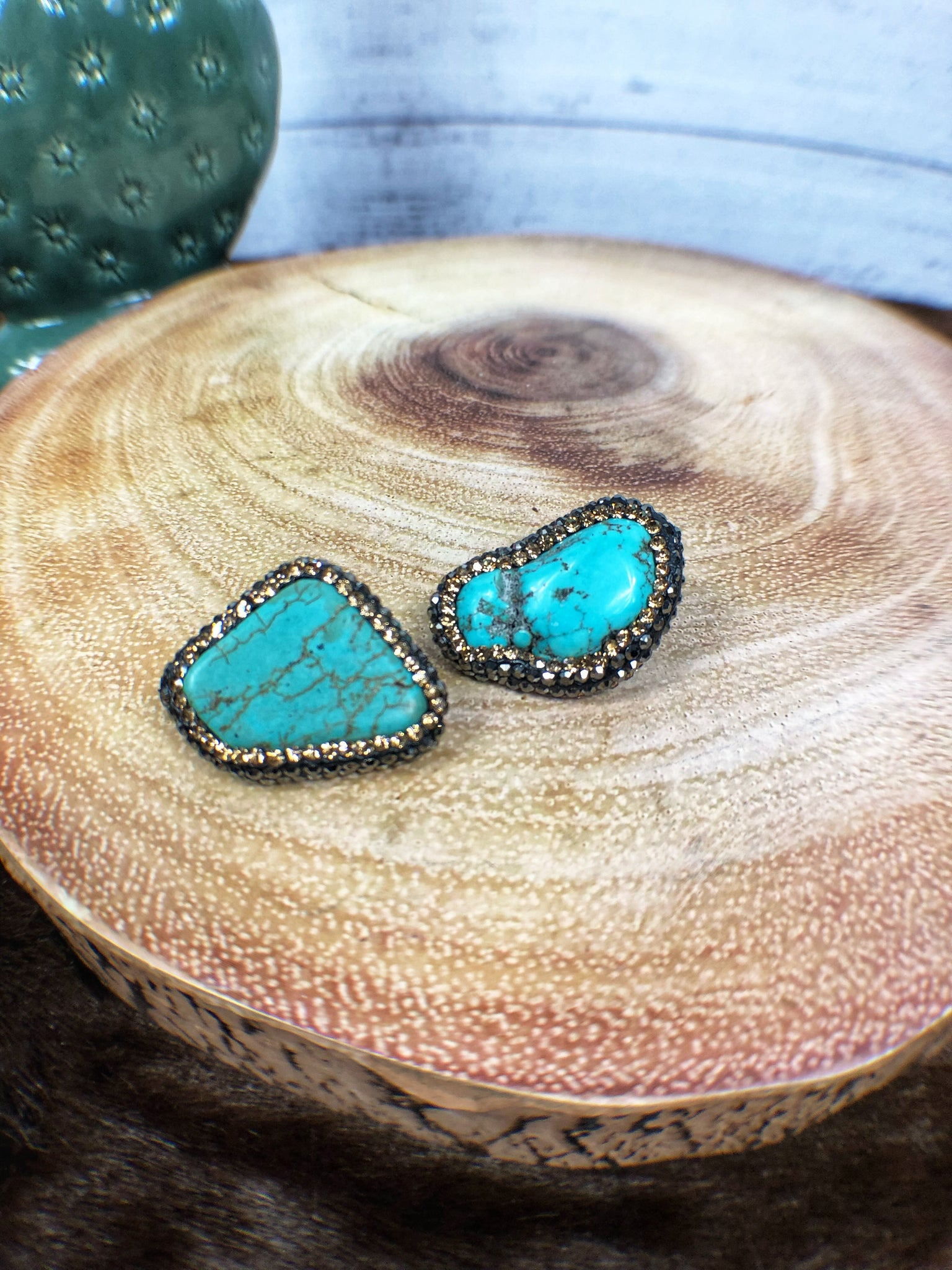 Turquoise and Crystal Slab Earrings