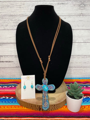 Leather and Turquoise Cross Necklace Set