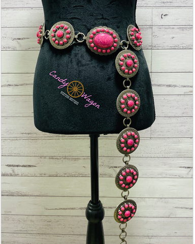 Pink and Silver Concho Belt