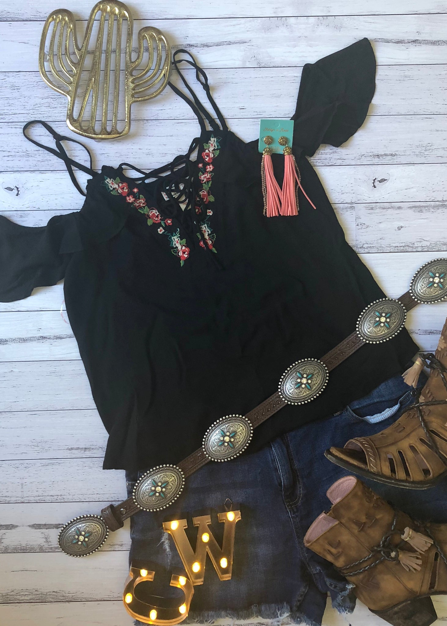 Cold Shoulder Black Floral Blouse