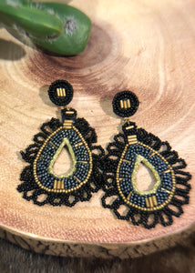 Black Seed Bead Earrings