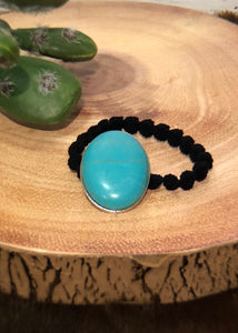 Oval Turquoise Hair Tie