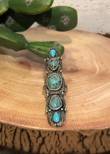 5 Stone Turquoise Stretch Ring