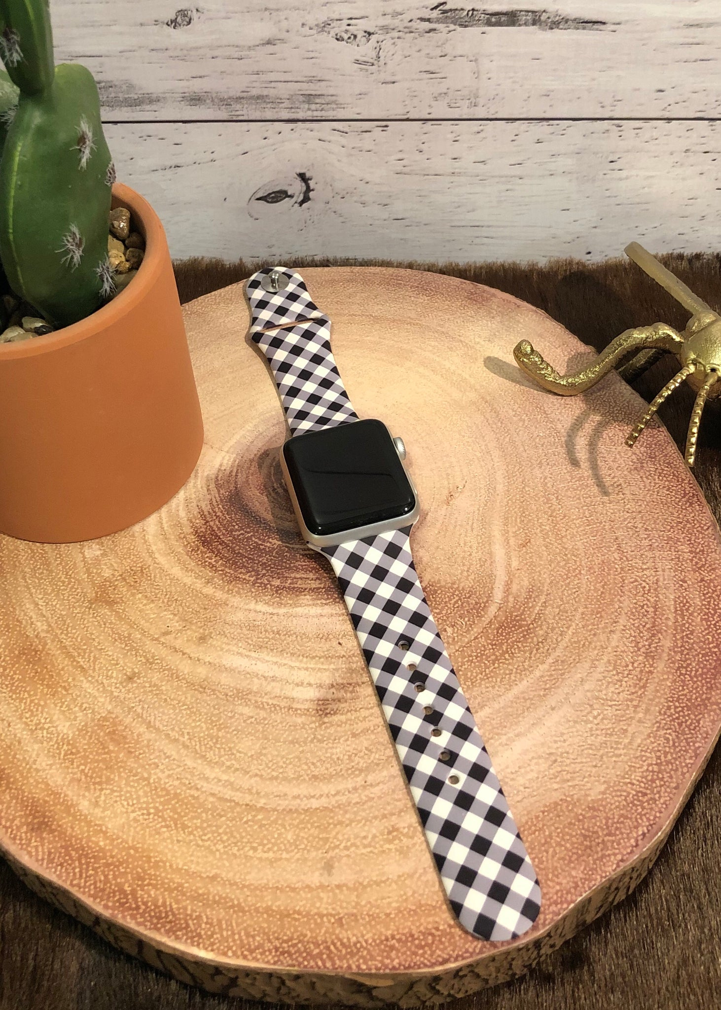 Black and White Plaid Watchband