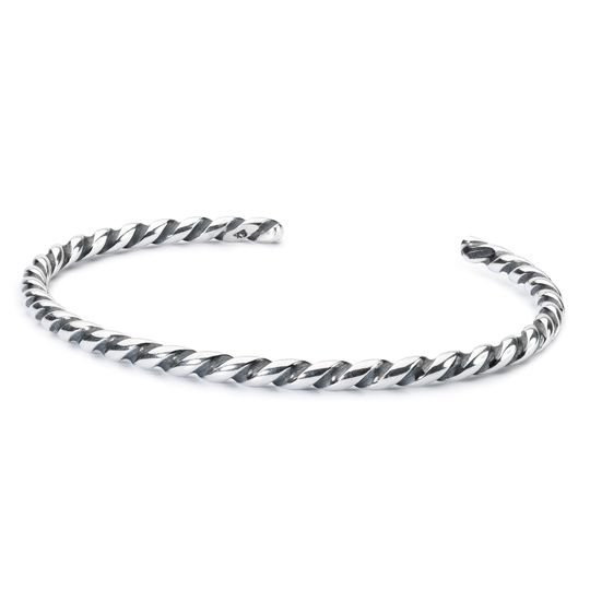 TROLLBEADS Twisted Silver Bangle M