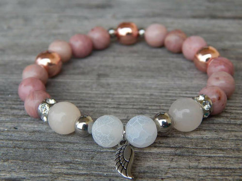 Lea By Cleopatra Agate Dragon White, Avanturine Pink, Rodochrozite and Hematite Rose Gold, Stainless Steel Components #63