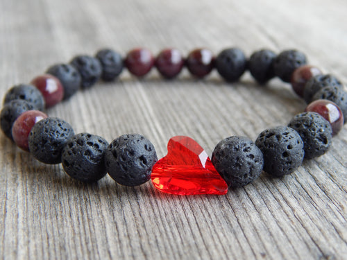 Lea By Cleopatra Lava stones, garnet and heart Swarovski #19