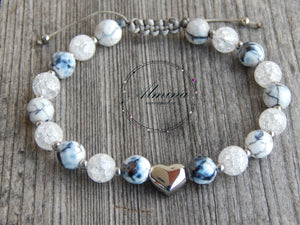 Lea By Cleopatra Achat fiery white faceted, crystal and heart and split glass beads made of surgical steel #41