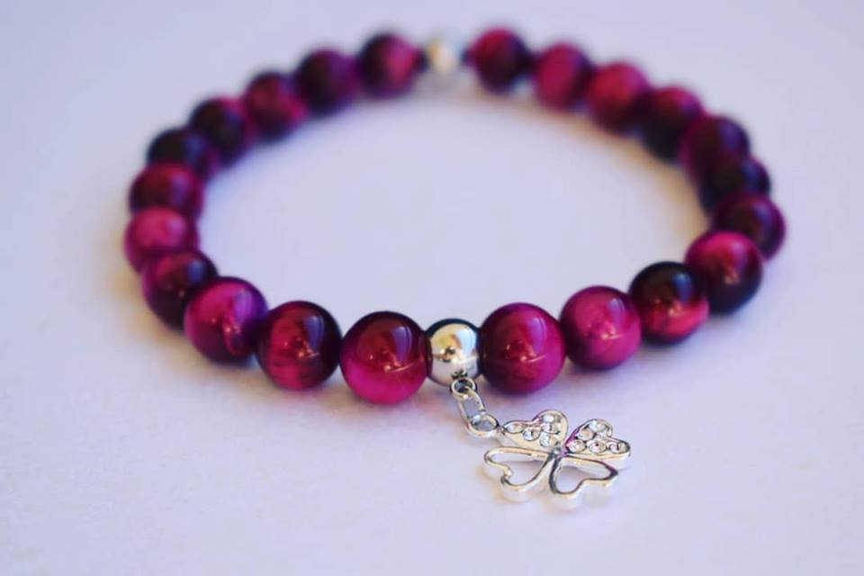 Lea By Cleopatra Tiger Magenta Eye& Silver Clover #164