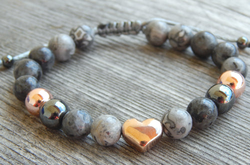 Lea By Cleopatra Labradorite, jasper landscape, hematite, heart of steel in rose gold color #116