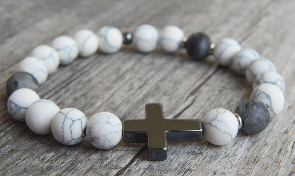 Lea By Cleopatra Matte howlite, matte labradorite, cross and hematite bead, steel interlining #78