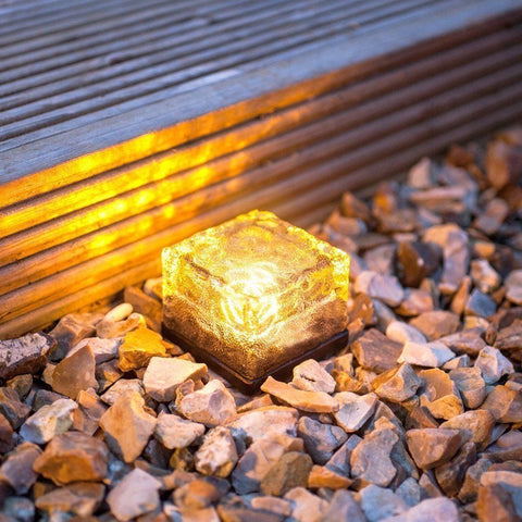 Solar Powered Crystal Glass Ice Brick LED Light