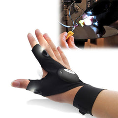 Glove with LED flashlight