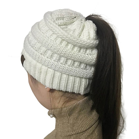 Soft-knit Ponytail Beanie