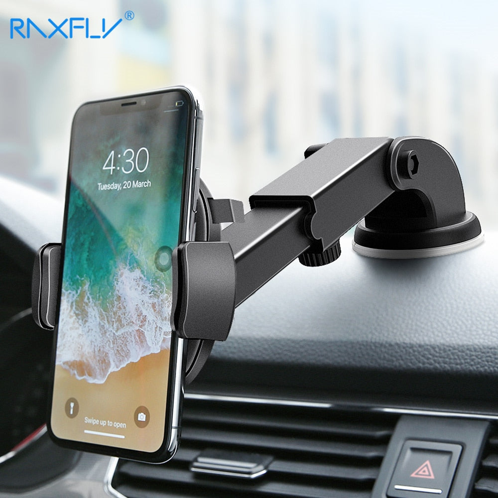 RAXFLY® Luxury Car Automatic Locking 360˚ Phone Holder With Nano Suction Technology & Extra Long Arm