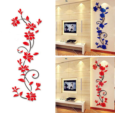 DIY 3D Acrylic Crystal Wall Stickers Living Room Bedroom