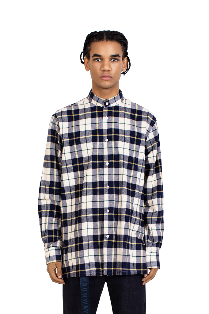 MAINLINE BEIGE NAVY YELLOW DRIP DENIM FLANNEL SHIRT