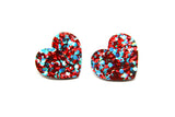Lovely Love Heart Studs - Teal and Red