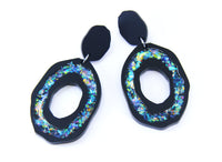 Fractured Geode Dangles - Matte Black