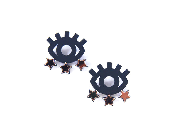 Starry Eyed Studs in Rose Gold & Matte Black