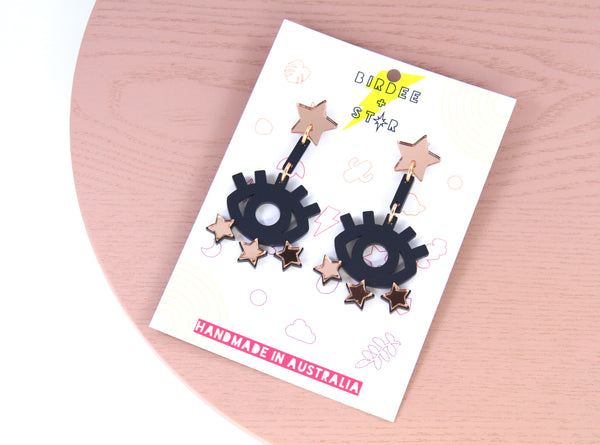 Starry Eyed Dangles in Rose Gold & Matte Black