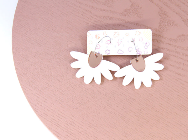 Floral Flight Hoop Dangles in Matte White