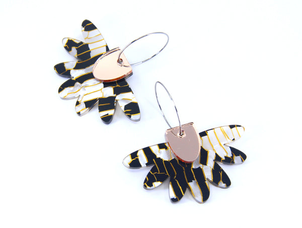 Floral Flight Hoop Dangles in Animalistic