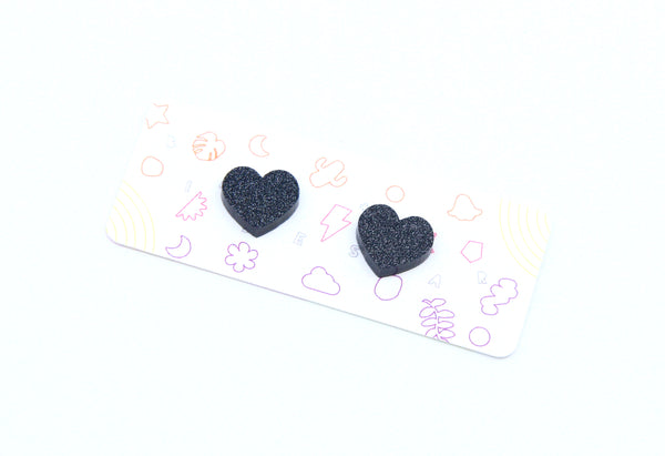 Sweetheart Small Studs in Black Glitter