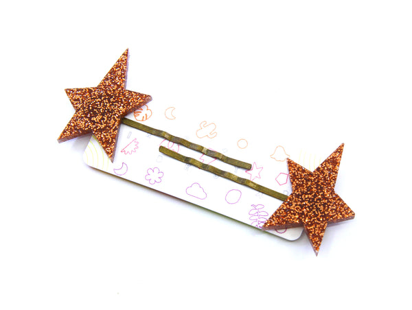 Sirius Hair Slides In Copper Glitter
