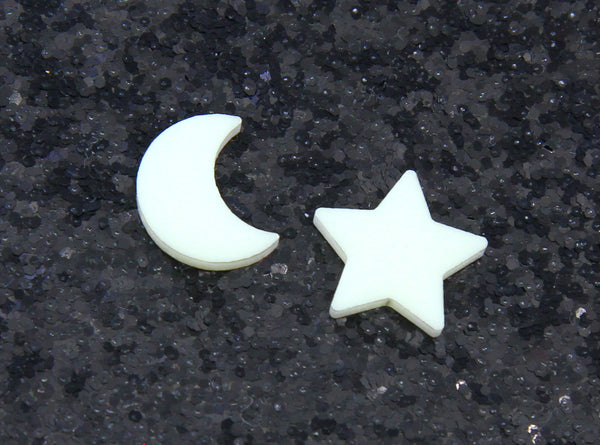 Night Lights Moon & Star Studs in Glow in the Dark