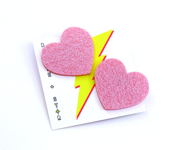Lovely Love Heart Large Studs - Various Colours