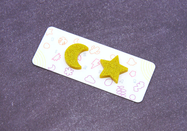 Night Lights Moon And Star Studs - Various Colours