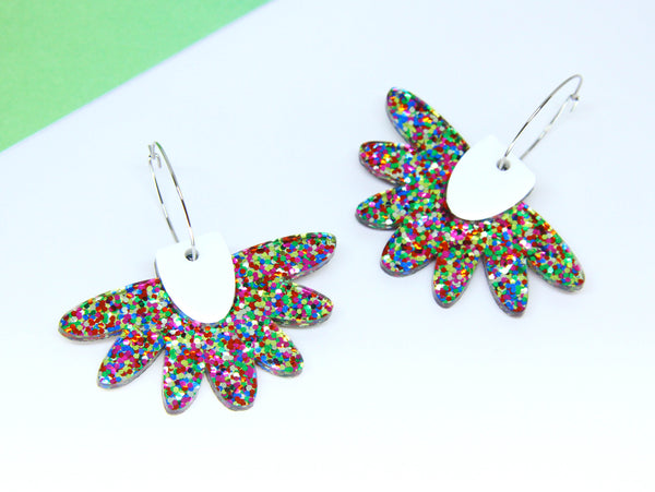 Floral Flight Hoop Dangles in Rainbow Glitter