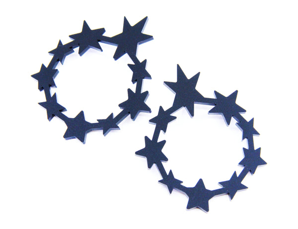 Circle of Stars Hoop Earrings - Matte Black
