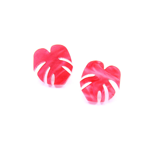 Shady Lady Small Monstera Leaf Studs - Hot Pink Marble