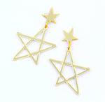 Sketchy Stars Dangles - Gold Mirror