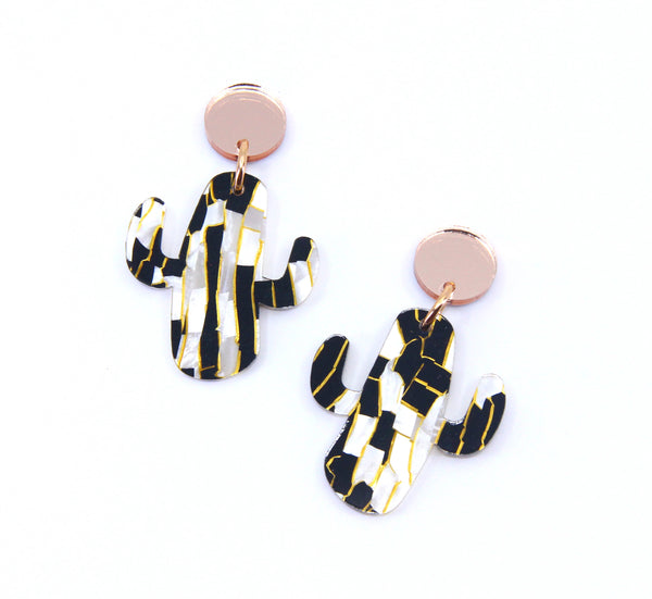 Party Cactus Midi Dangles in Animalistic and Rose Gold