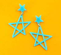 Sketchy Stars Dangles - Turquoise