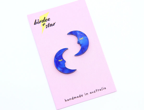 Sleepy Satellite Moon Studs