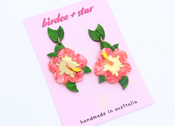 Viva Summer Hibiscus Dangles in Pink and Gold