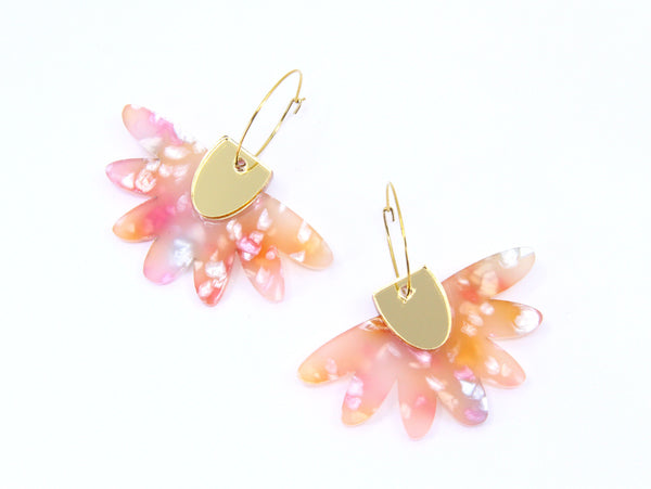 Floral Flight Hoop Dangles in Frangipani Petals