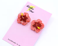 Viva Summer Hibiscus Studs in Red and Pink