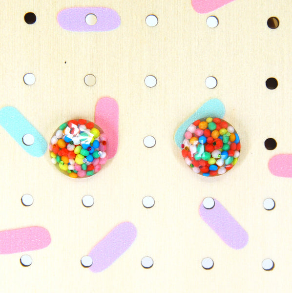 Fairy Bread Round Faceted Studs