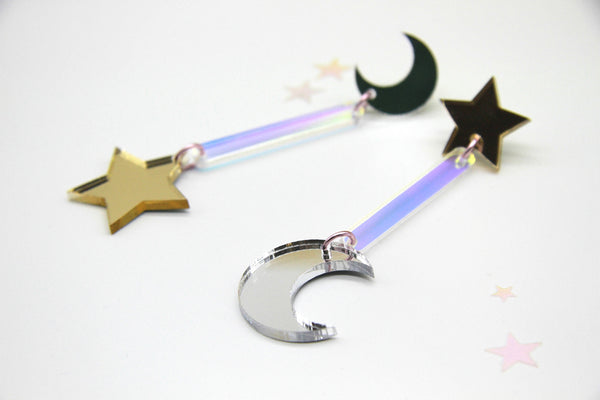 Get Lit Moon and Star Dangles